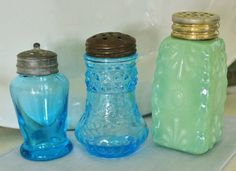 3 Mismatched Antique Victorian Glass Shakers by robinseggbleunest