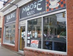 Coffee by day, brews by night. The Blue Moose Cafe is a local coffee shop that also serves up some delicious food. It's a great place to meet and hang out downtown.