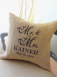 Mr and Mrs Burlap Pillow Cover- Perfect Wedding,  Anniversary or Shower Gift, Bride and Groom, Newlyweds. $40.00, via Etsy.