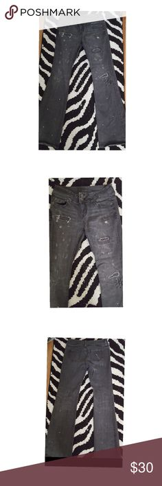 Victoria's Secret London Hipster Jeans Victoria's Secret - London Jean - Hipster - Flare Leg bootcut - Dark Gray w\ patches and distressed look - Zip up & 2 button closure 98% Cotton 2%Spandex  Size 4 Worn few times  Excellent Condition Great dressed up with heels or boots or down with a tee shirt Victoria's Secret Jeans Boot Cut