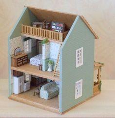 1/144th Scale Micro Mini Cottage with Loft - Dollhouse Miniature.  via Etsy.