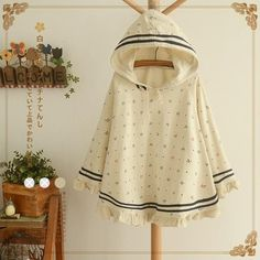 Spring Autumn kawaii Women Anchor print shaped hooded hats polka dot loose cloak half sleeve jacket sweatershirt Outerwear Coat