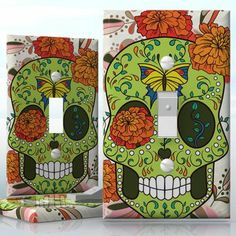 DIY Do It Yourself Home Decor - Easy to apply wall plate wraps | Butterfly Sugar Skull Autumn flowers sugar skull wallplate skin sticker for 1 Gang Toggle LightSwitch | On SALE now only $3.95