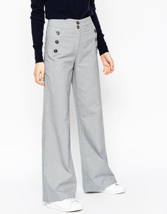 Image 4 of ASOS Wide Leg Mini Check Pants with Button Detail