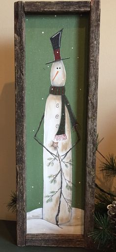 Prim Farmhouse Vintage PRINT 8x10 Mary Albert Merry Christmas Belsnickel Snowman