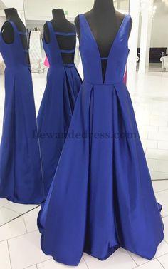 Royal Sleeveless Open Back Pleated Long Satin Prom Dress