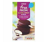 Tesco Ice Cream Chocolate Sticks Diary free vanilla iced dessert with chocolate flavoured coating Tesco Groceries, Chocolate Sticks, Chocolate Flavors, Vegan Recipes, Vegan Food, Dairy Free, Vanilla, Frozen, Gluten