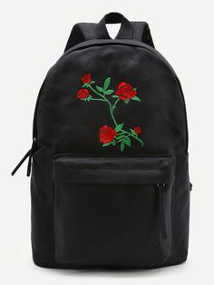 SheIn offers Flower Embroidery Canvas Backpack & more to fit your fashionable needs. Mini Backpack, Black Backpack, Backpack Bags, Leather Backpack, Backpack Online, Fashion Bags, Fashion Backpack, Fashion Fashion, Fashion Ideas