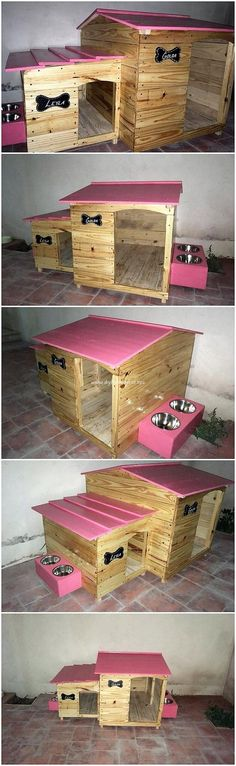 This is a piece of unique designed pet house out from the wood pallet. This pet house design structure has been mixed with the taste of the textured designing that is brilliant added into the framing concept of work. Pallet Projects, Diy Projects, Pallet Ideas, Dog Houses, House Dog, Amai, Wooden Pallets, Animal House, Recycled Wood