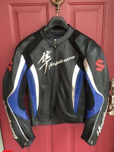 Hayabusa Motorbike Leather Jacket Racing Biker Cowhide All Size US - Outerwear