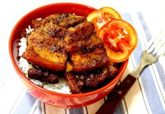 Pork Belly Braised in Soy Sauce, Cane Vinegar, Garlic, Bay Leaves, Peppercorns and Olive Oil (The Filipino Adobo)