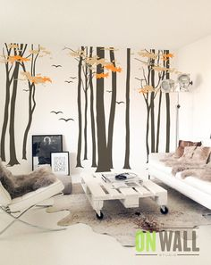 Large  Vinyl  Wall Tree Decal, Set of Birch tree wall vinyl stickers and migratory birds - MM009