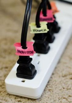 You will never unplug the wrong one again! Up-cycle the ties to keep bread fresh and write on them in sharpie.