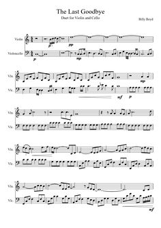 The Last Goodbye from the Hobbit, Battle of the Five Armis                                                      Violin and Cello duet Sheet music