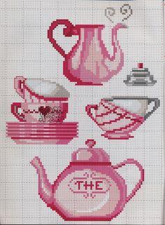 Cross Stitching, Cross Stitch Embroidery, Cross Stitch Patterns, Cupcake Cross Stitch, Diy And Crafts, Arts And Crafts, Cross Stitch Collection, Crochet Poncho, Tea Party