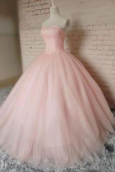 Pink organza sweetheart A-line long prom dresses,ball gown dress