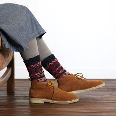 ジャカードボアブーツ風フロント柄ソックス chaussettes (ショセット) / ¥1,470