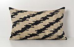 Ikat Silk Velvet Pillow - Black Ivory Cream Handwoven Velvet Ikat Zigzag Throw Pillow Home Decor Cushion Chevron Decorative Pillowcase