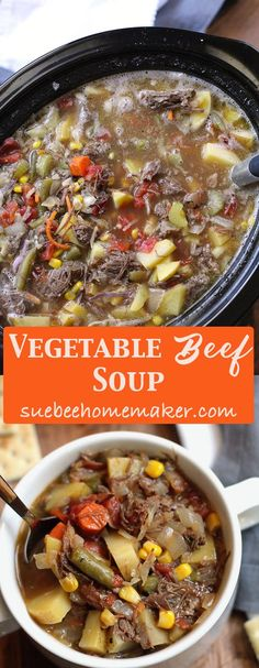 Vegetable Beef Soup is a stick-to-your-ribs kind of soup, combining a slow-cooked roast with tons of fresh veggies. Perfect for chilly nights! Beef Soup Recipes, Healthy Soup Recipes, Chili Recipes, Beef Soups, Delicious Recipes, Easy Recipes, Dinner Recipes, Slow Cooker Soup, Slow Cooker Recipes