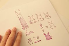 Bunnies stamps clear stamps illustration by Caracarmina on Etsy