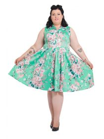 Voodoo Vixen Rockabilly 1950S Vintage Plus Size Floral Dress: Momovintage presents. Voodoo Vixen Vintage Rockabilly Retro Plus Size Dress Great quality, Look at this beauty.This is our winning style and floral print. Pleated skirt and shirt style upper part is a true vintage jewel. This vintage inspired dress is so versatile and will fit every modern wardrobe today. Price: £54.99