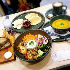 パンケーキ、野菜プレート、セロリとポルチーニのスープ、豆乳ラテ @ローズベーカリー #restaurant #cafe #東京 #銀座 #吉祥寺