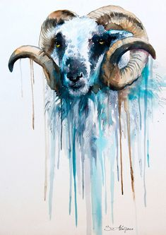 Sheep watercolor  painting print 8 x 12  goat  animal by SlaviART, $25.00