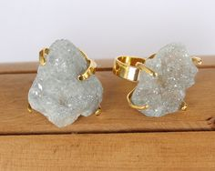 Large Raw Sparkling Gray Geode Stone encased in Gold Plated Prong Setting atop Adjustable Band Ring