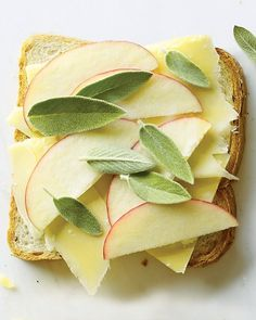 Gruyere, Apple, and Sage on Rye  Crisp apple combined with a creamy, nutty Gruyere balances the earthiness of sage and rye. Choose sweet Fuji apples or tart Granny Smiths.