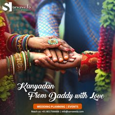 Every daughter is her daddy's princess. At Kanyadaan, while a father is giving away his heart to someone equally responsible, we ensure the ceremony becomes traditionally enriched and beautiful. Call us for wedding planning and events: +91 8017566666 #Sarvaveda #EventManagement