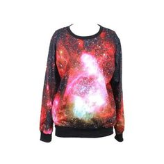 Tparis Galaxy Patterned Sweatshirts Printed Colorful Pullovers Women... ($19) ❤ liked on Polyvore featuring tops, skull top, pullover tops, sweater pullover, galaxy top and galaxy print top