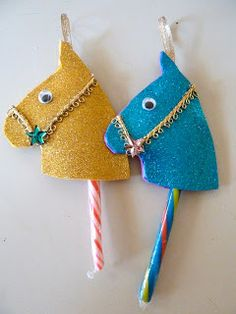 It's ornament crafting time for kids…and adults—Candy cane stick horse