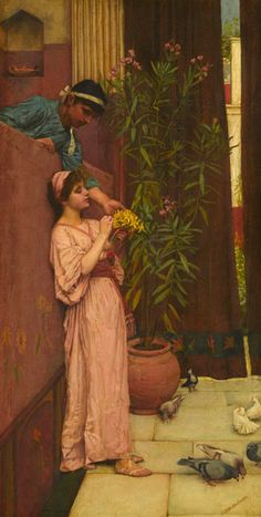 A painting by John William Waterhouse (1849-1917The Courtship (Sweet Offerings).