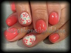 Coral flowers gel polish nail art
