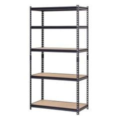 Muscle Rack 72 In H X 36 In W X 18 In D Steel Particle Board Shelves Commercial Shelving Unit In Black images ideas from Home Shelves Ideas Garage Shelving Units, Steel Shelving Unit, Storage Shelving, Shelf Units, Office Storage, Workshop Shelving, Plastic Shelving, Shelving Brackets, Basement Shelving