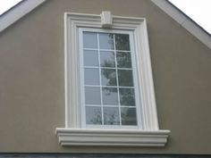Stucco applied and designed by Murtagh Exterior Window Molding, Door Molding, Moldings And Trim, Colonial Exterior, Stucco Exterior, Exterior Doors, Craftsman Windows, Craftsman Trim, Craftsman Style