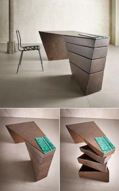 30 Inspirational Home Office Desks This twisted Desk design appears almost sculptural. The post 30 Inspirational Home Office Desks appeared first on Design Diy. Bureau Design, Design Desk, Office Furniture Design, Office Table Design, Design Table, Furniture Layout, Design Bedroom, Layout Design, Smart Furniture