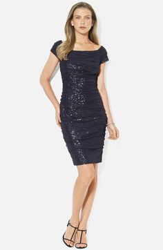 Type 4 STRONG secondary 1 for sparkle and off black  Lauren Ralph Lauren Ruched Cap Sleeve Sheath Dress | Nordstrom