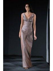 Taffeta V-neck Draped Bodice Floor-Length Bridesmaid Dress