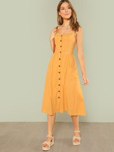 Young Boho Plain Shift Flared Spaghetti Strap Sleeveless Natural Yellow Long Length Pocket Patched Button Up Cami Dress
