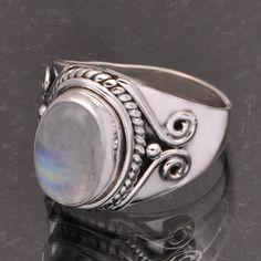 RAINBOW MOONSTONE 925 SOLID STERLING SILVER DESIGNER RING 6.0g DJR7067 #Handmade #Ring