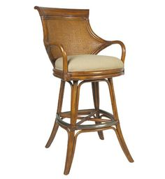 "Biscayne Bay Barstool SKU: D3602-BS Rattan frame with mahogany crown  Rawhide-wrapped joints  Double-walled woven 5mm cane back  Tight seat  360-degree swivel seat  One brass foot rest  COM Yardage: 1  Any finish available  W23"" x D25"" x H46""  Seat Deck: W19"" x D19"" x H28""  Arm Height: 35""  Also available in counter height (D3602-CS):  W23"" x D25"" x H40""  Seat Deck: W18"" x D19"" x H22""  Arm Height: 29"""