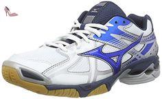 Mizuno Wave Bolt 4, Chaussures Multisport Indoor homme, Blanc - Weiß (White/DirectBlue/Silver 24), 44 - Chaussures mizuno (*Partner-Link)