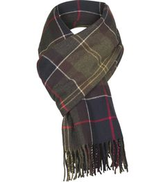A generously sized boucle textured scarf in Barbour signature Classic tartan design. Soft-hand feel. Tassled hem.