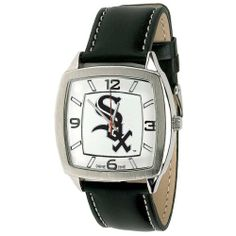 "CHICAGO WHITE SOX MLB leather band Watch for Men by SWEETEMILYS COLLECTION OF CHICAGO WHITE SOX. $39.95. CHICAGO WHITE SOX  Retro leather band Watch for Men    Features Officially licensed team logo and colors  Diameter of face is 1.5/8""  Genuine leather strap  Adjustable Band 6.25 TO 7.50""  Band width is .7/8""  Stainless steel case back  Japan quartz movement  Water resistant to 3 ATM (99 ft.)  Limited lifetime warranty"