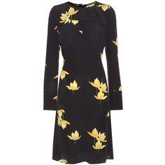 Marni Floral-Printed Silk Dress ($1,460) ❤ liked on Polyvore featuring dresses, black, marni, silk dress, flower pattern dress, floral print silk dress and flower printed dress