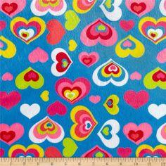 Minky Cuddle Hearts Blue
