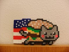 Perler Bead Nyan Cat in American Flag and by KawaiiLittlePresents, $7.99
