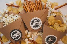 These DIY late-night wedding snacks will be a big hit with your wedding guests or any party guests on their way home.  Green Wedding Shoes made these fun to-go party favors using brown kraft paper and Avery Scallop Round Labels (22836).  Personalize and print them in your wedding colors, then just choose your favorite snacks and fill them up. A simply sweet gift your guests will truly appreciate after a long night of dancing!