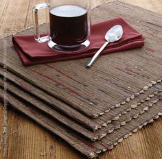 Our Tweed™ placemat is made from repurposed strips of paper cement bags woven together into an elegant textile. This artful design received the Award of Excellence for Handicrafts by the United Nations Educational, Scientific & Cultural Organization (UNESCO). Here is a table textile that is also a conversation piece and an attractive statement on any dining table. Wipe clean with a damp cloth. #decor #table #style